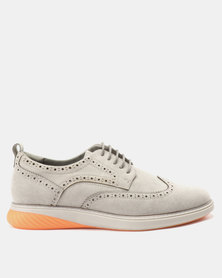 Paul of London Casual Brogue Lace Up Shoes Grey