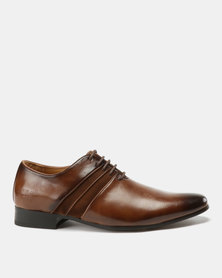 Paul of London Formal Fabric Combo Lace Up Shoes Tan