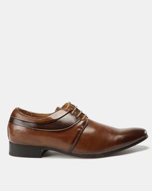 Paul of London Formal Combo Lace Up Shoes Tan/Brown