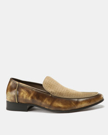 Paul of London Formal Perforated Slip Ons Taupe