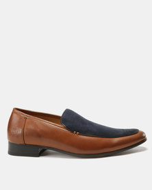 Paul of London Formal Perforated Slip On Tan/Navy