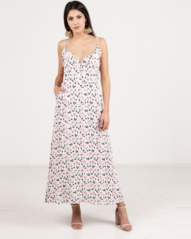 G Couture Buttons and Pockets Printed Dress White