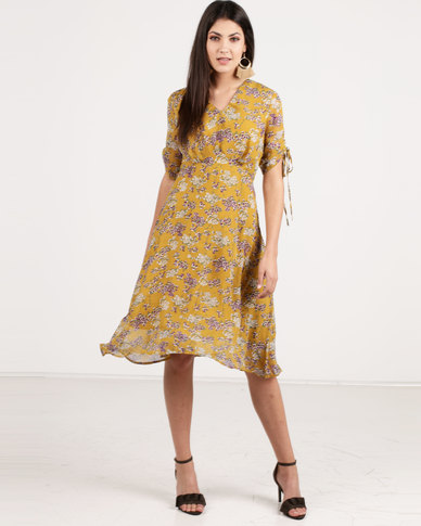 G Couture V Neck Drawstring Sleeve Printed Dress Mustard