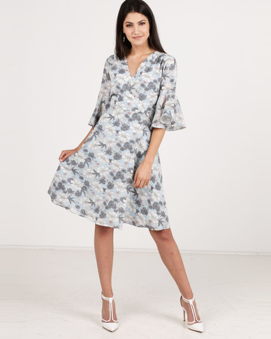 G Couture Fully Flared Knee Length Dress Blue