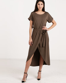 G Couture Boat Neck Wrap Tulip Dress Olive