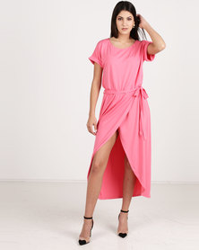 G Couture Boat Neck Wrap Tulip Dress Pink