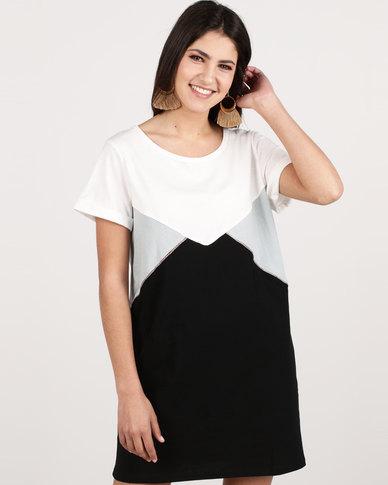 G Couture Cap Sleeve T-shirt Colourblock Dress White