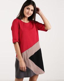 G Couture Long Sleeve T-shirt Colourblock Dress Red