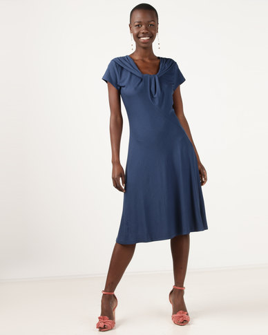 G Couture Gathered Neck Detail Soft Dress Blue