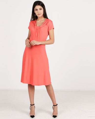 G Couture Gathered Neck Detail Soft Dress Coral
