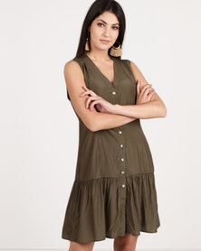 G Couture Sleeveless Button Down Tunic Olive