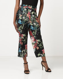 G Couture Floral Cropped Paper Bag Pants Multi