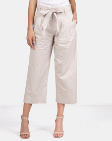 G Couture Cotton Cropped Side Pocket Pants Stone