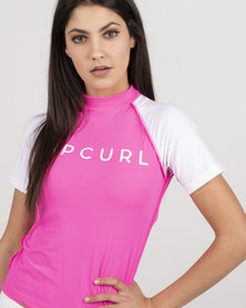 Rip Curl Ocean Basic Short Sleeve Rashvest Pink