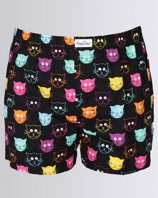 Happy Socks Cats Boxers Black