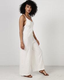 Billabong Sandy Stripe Jumpsuit White