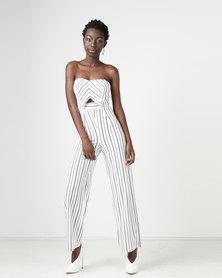 Gallery Clothing Bandeau Wide Leg Jumpsuit White Stripe
