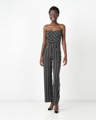 9a2047d354 Gallery Clothing Bandeau Wide Leg Jumpsuit Black Stripe