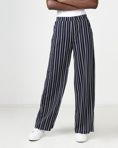 e2df51df6d Gallery Clothing Wide Leg Pants Navy Stripe | Zando
