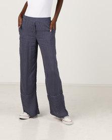 Gallery Clothing Wide Leg Pants Navy Stripe