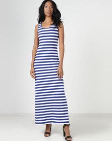 Utopia Stripe Maxi Vest Dress Navy/White