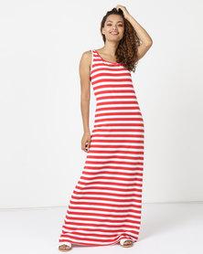 Utopia Maxi Vest Dress Red/White Stripe