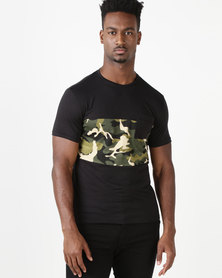 Utopia Colourblock Camo Tee Black