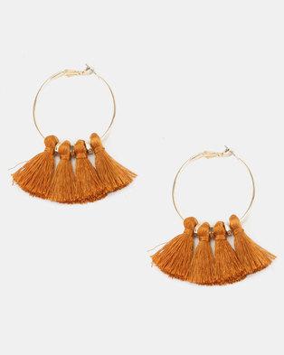 New Look Tassel Hoop Earrings Tan