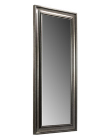 NovelOnline Gunmetal Silver Wooden Classic Framed Dress Mirror