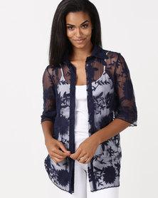 MmusoMaxwell Short Sleeve Lace Blouse Navy