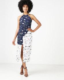 MmusoMaxwell Floral Halter Neck Dress Navy & Ivory