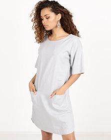 Blu Spiral Linen Tunic Dress Grey