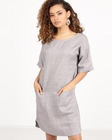 Blu Spiral Linen Tunic Dress Taupe