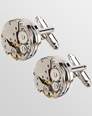 Skone Watch Movement Cufflink Silver