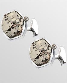 Skone Movement Hexagonal Cufflinks Silver