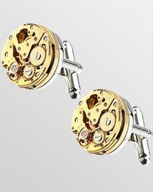 Skone Round Watch Movement Cufflinks Gold/Silver
