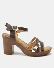 Franco Ceccato Crisscross Ankle Strap Heels Tan