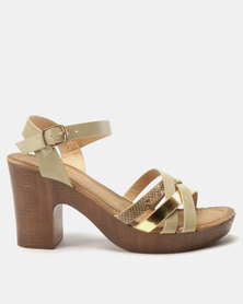 Franco Ceccato Crisscross Ankle Strap On Block Heels Gold