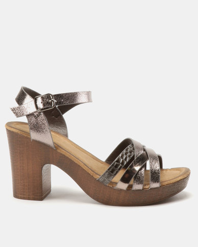 Franco Ceccato Crisscross Ankle Strap On Block Heels Pewter