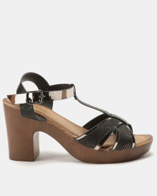 Franco Ceccato T Bar Platform On Block Heels Black