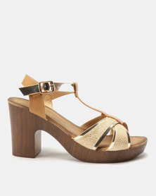 Franco Ceccato T Bar Platform On Block Heels Tan