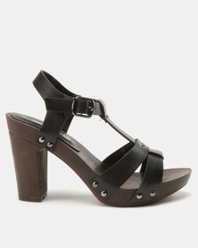 Franco Ceccato T Bar Sandals On Wooden Unit Black