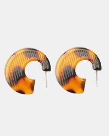 Black Lemon Tort Chunky Open Hoop Earrings Brown