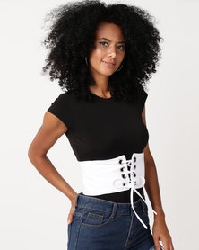 Black Lemon Laced Up Waist Belt White