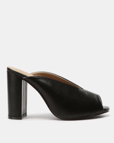 32e7854db24 Urban Zone Peep Toe Heels Black PU