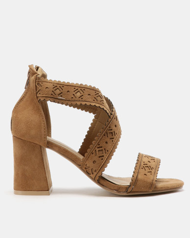 Urban Zone Cross Strap Heels Taupe