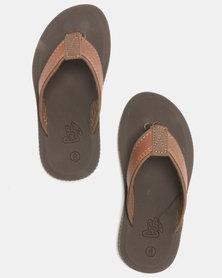 Carlo Bossi PU Thong Sandals Brown