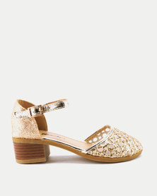 Candy Cut Out Shimmer Heels Gold
