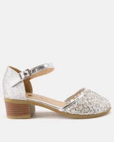 Candy Cut Out Shimmer Heels Silver