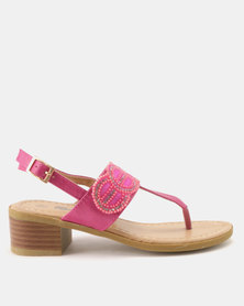 Candy Bead Detail Thong Heeled Sandals Fuchsia
